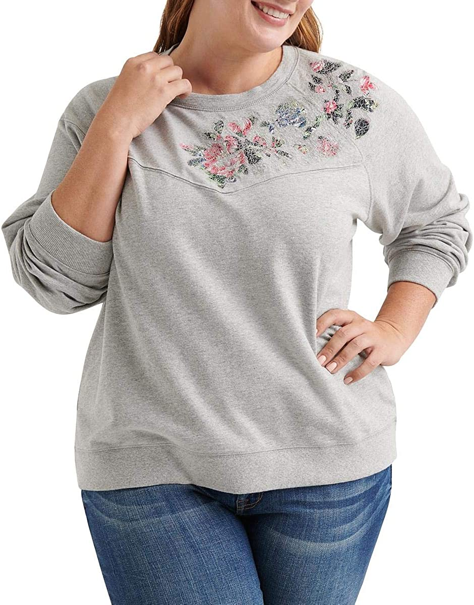 Lucky Brand Women's Plus Size Floral Pullover Sweatshirt