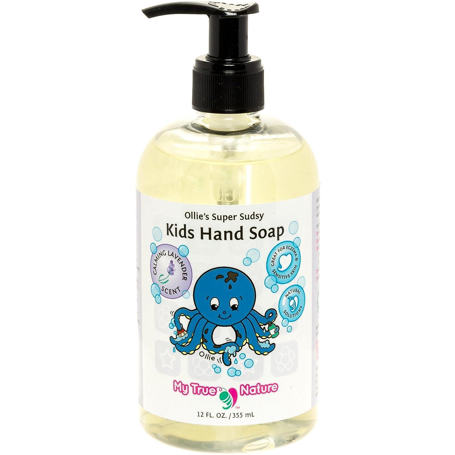 熟達した紫の間接的All Natural Kids Soap - Ollie's Super Sudsy Liquid Hand Soap - Lavender Scent, 12 oz by My True Nature