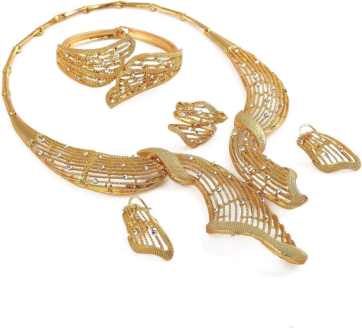 24K Gold Plated Jewelry Set White Stone Choker Jewelry Set Habesha Eritrea