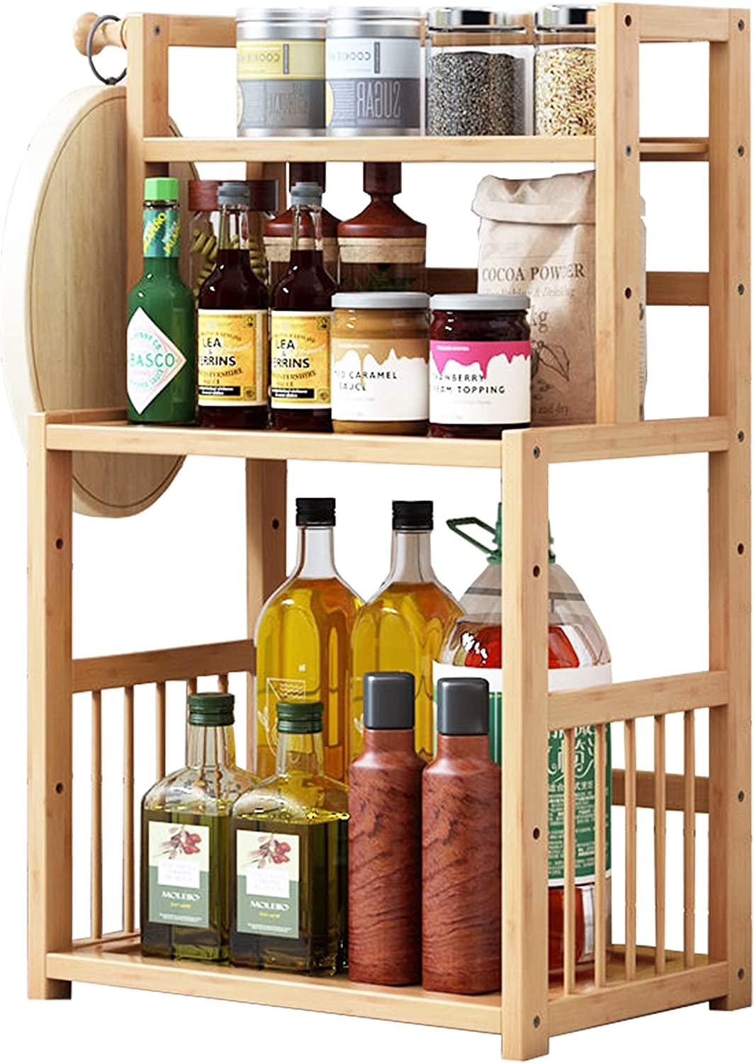 BuSinMuGe Super special price 3 tier Spice Rack Storage Max 80% OFF Shelves - Bamboo Kitchen Cou