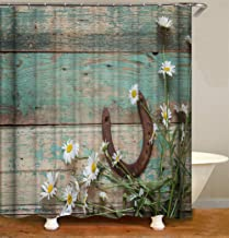 ZYJ Blue Wooden Boards, Horseshoes, Flowers. Shower Curtain. 70.86 inches X 70.86 inches. 3D HD Printing. Easy to Clean.