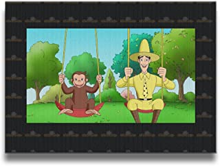 Kids Curious George School Backpack Canvas Frameless Paintings Decor