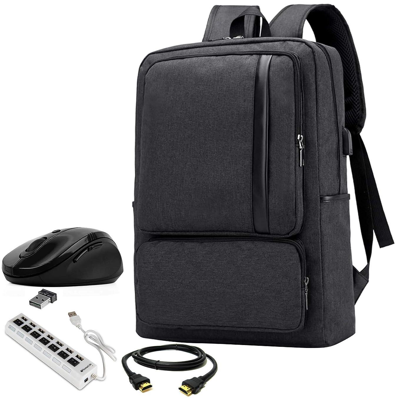 VG Bags Black 15.6-inch Slim Lightweight Laptop Backpack with USB Hub, Mouse, HDMI Cable for Lenovo Legion, ThinkPad, Yoga, IdeaPad, Flex, ChromeBook 14