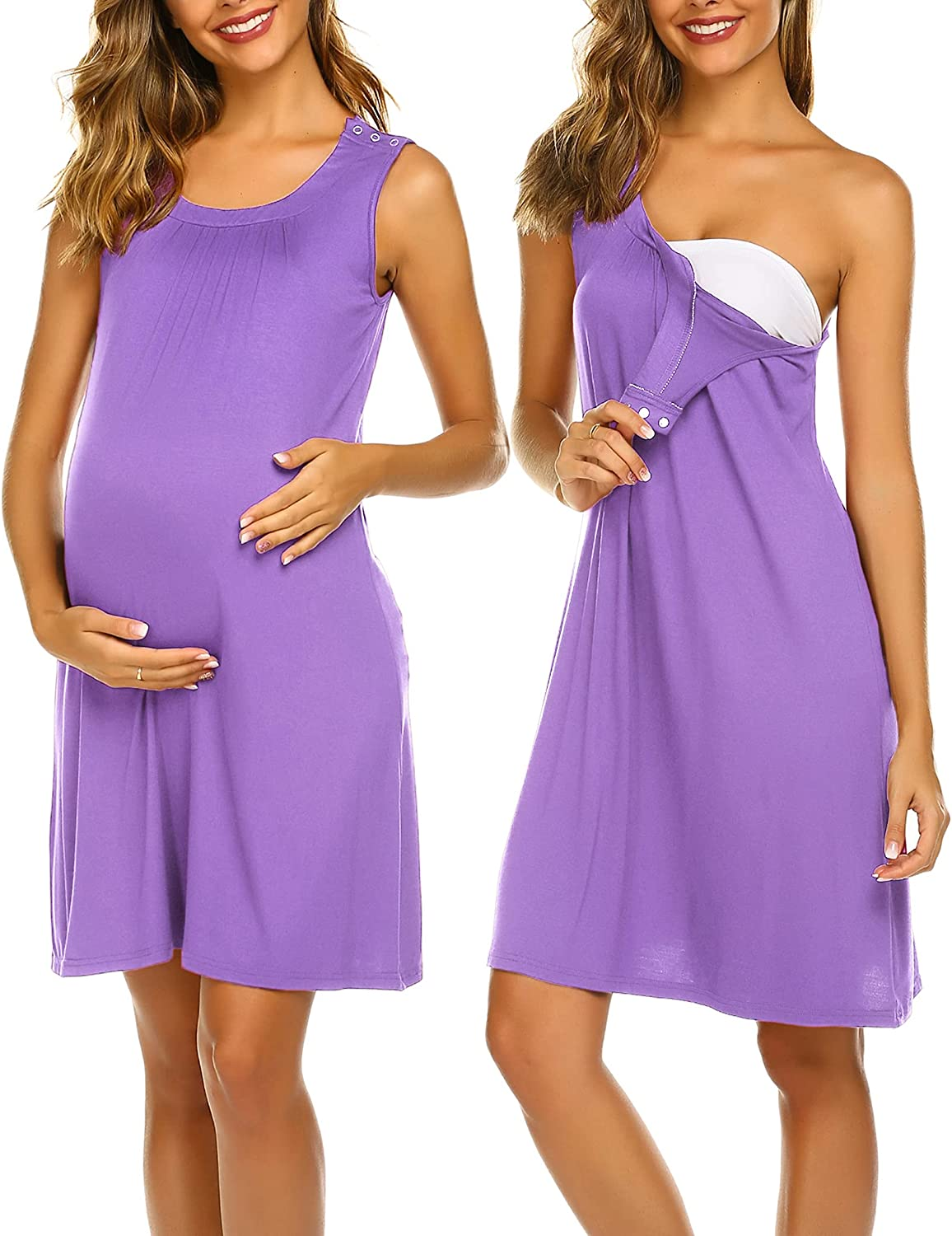 Ekouaer Womens Delivery/Labor/Maternity/Nursing Night Dress Pregnancy Nightgown for Breastfeeding S-XXL at  Women's Clothing store