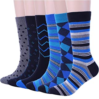 Mens Blue Dress Crew Socks Funky Argyle Stripe Patterned Designs 6 Pair One Size
