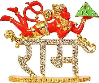 SAUBHAGYA GLOBAL Brass Chiranjeevi God Hanuman Hindu Religious Stone Studded Idol, 6x2cm, Red, 1 Piece