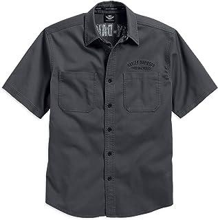 Men's Flames Woven Shirt Short Sleeve, Grey. 99007-16VM
