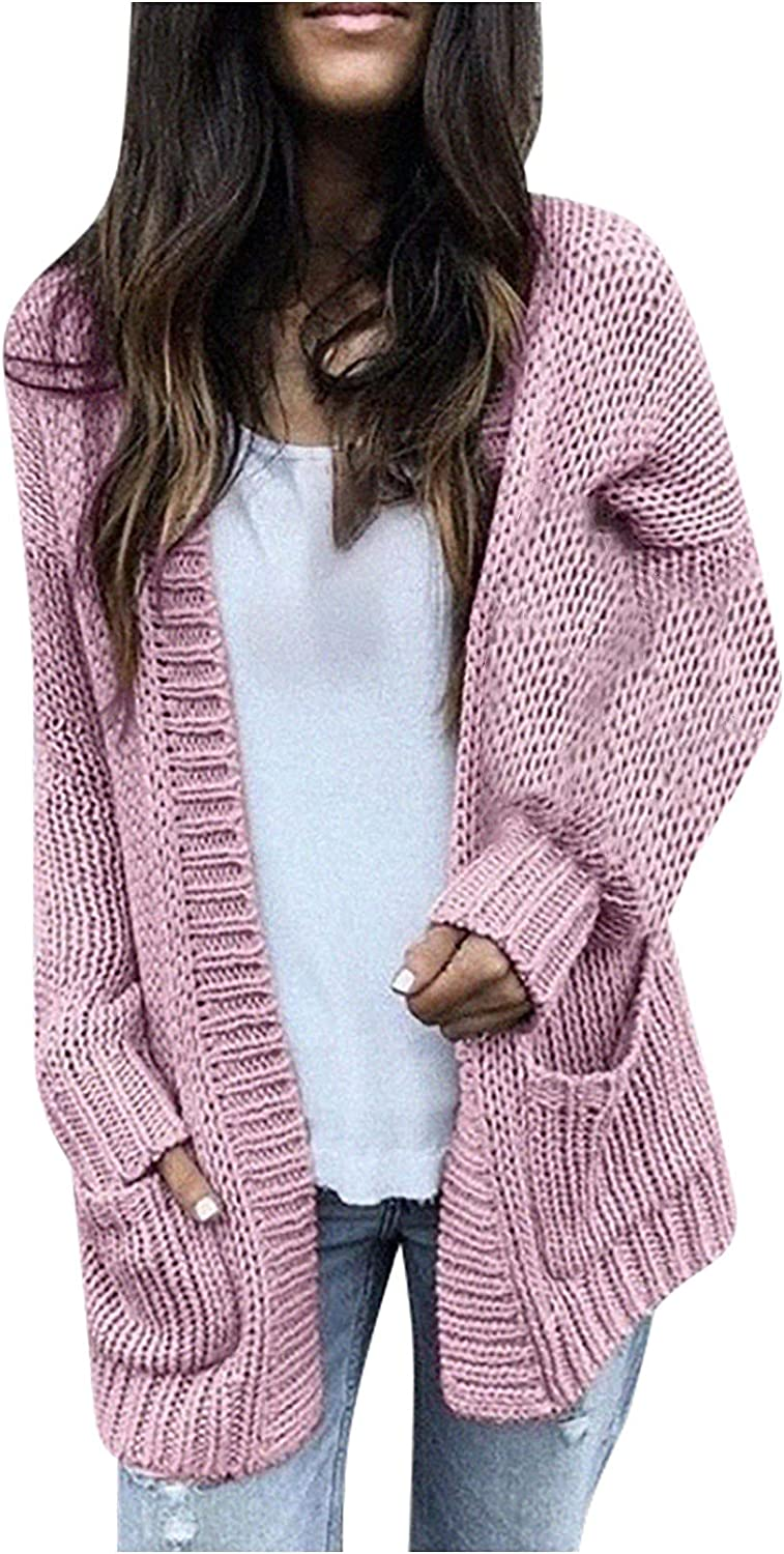 Women's Open Front Casual Chunky Knit Cardigan Lightweight Loose Long Sleeve Knitted Sweater Coat Outwear with Pockets