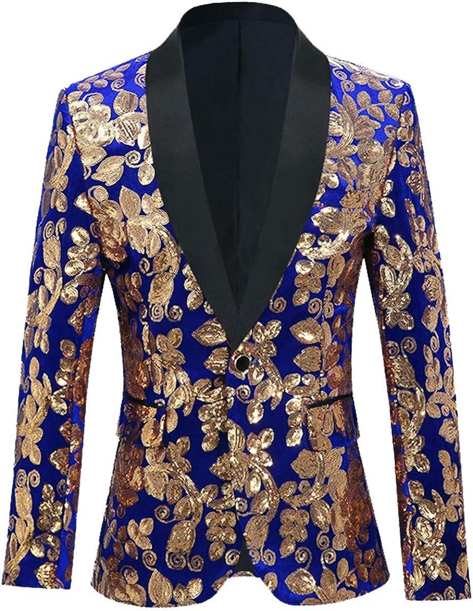 Men's Sequin Floral Suit Shiny Jacket Tux Banquet Prom Blazer Dress Coat