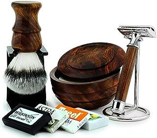 7 szt. drewniany męski zestaw upominkowy do golenia klasyczna maszynka do golenia na mokro, syntetyczna szczotka do bogate...