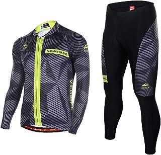 comprar comparacion Asvert Ropa de Bicicleta Hombre MTB Traje de Ciclismo Mangas Largas Maillot+Pantalones Equipación de Ciclista, Talla M-3XL