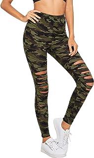 SweatyRocks Women's High Waisted Cutout Ripped Skinny Leggings Yoga Active Pants