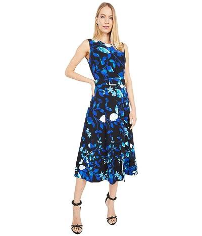 Calvin Klein Belted Floral Print Midi Dress (Capri Multi) Women