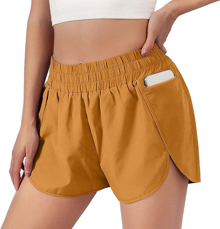 Lroveb Women's Athletic Shorts Elastic Waist Running Lined Shorts Summer Casual Yoga Gym Comfy Outdoor Short Pants