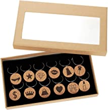 Wine Glass Charms – 12-Piece Wine Charm Drink Markers, Wine Glass Tags, Natural Cork Wine Charms - Fun Assorted Designs for Bachelorette Parties, Birthday, Gatherings, Reunions, 1 x 0.19 inches