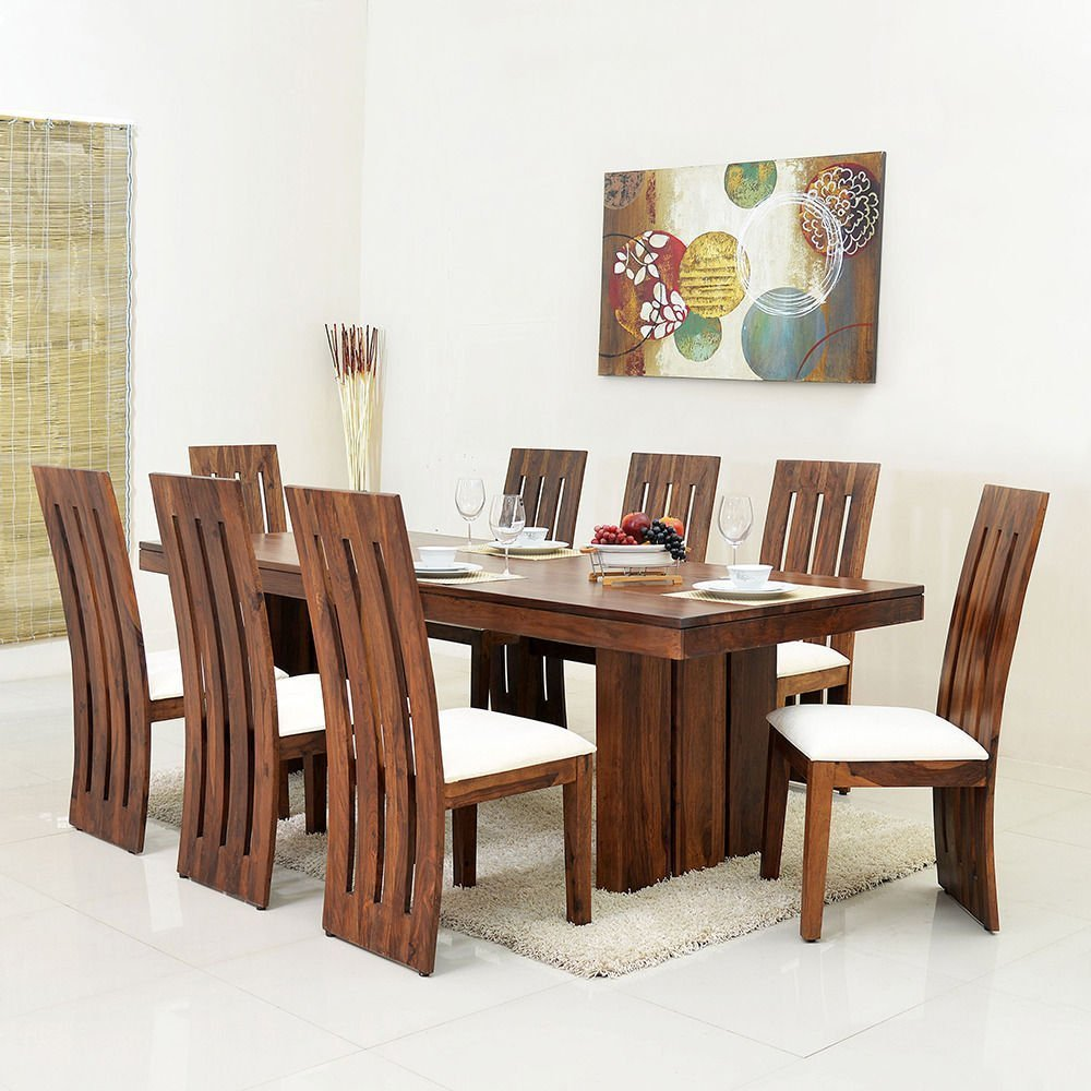 Mamta Decoration Sheesham Wood Dining Table Set for Living Room with 9  Chair   Teak Finish