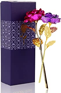 MSA JEWELS Combo of Pink and Purple Rose Flowers in Gift Box