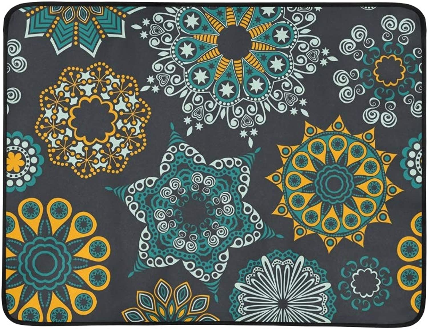 Bright Ornate Flowers Portable and Foldable Blanket Mat 60x78 Inch Handy Mat for Camping Picnic Beach Indoor Outdoor Travel