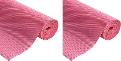 Kuber Industries 2 Pieces Multipurpose Diamond Textured Super Strong Anti-Slip Mat Liner,Size 45X150 cm (1.50 Meter Roll, Pink) - CTKTC045504