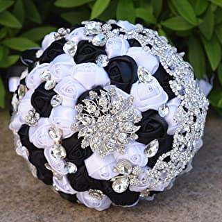 FYSTORE Wedding Bouquets for Bride Wedding Bride Holding Bouquet Roses with Crystal Diamond Ribbon Artificial Foam Flower Bouquet ((Black+White)