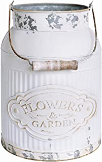 APSOONSELL French Country Decor Rustic Farmhouse Kitchen Decor Galvanized Bucket Decorative Metal Flower Vase Vintage Milk Can Jug for Bathroom, Sparklers for Weddings