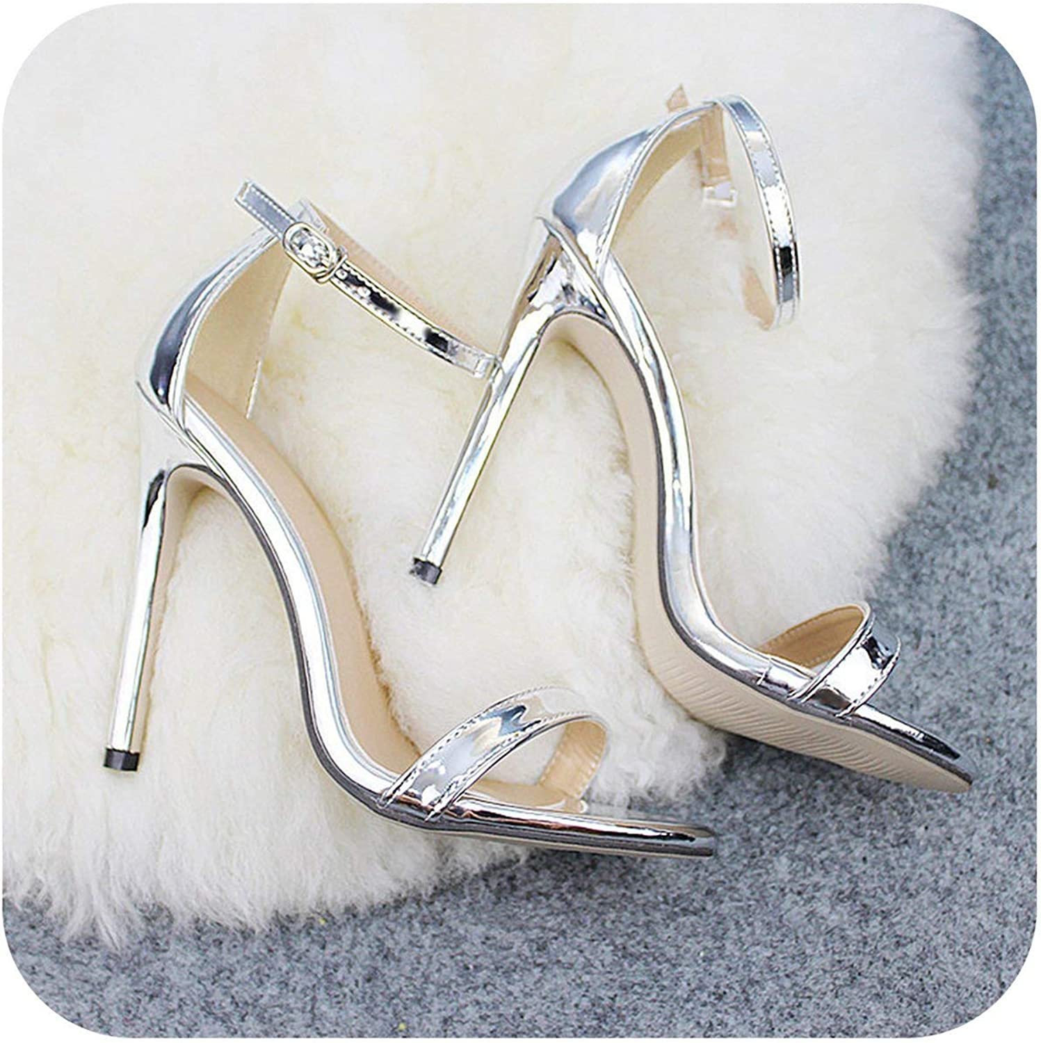 Woman Sexy Peep Toe High Heel shoes Sandals Party Dress gold Silver EU43