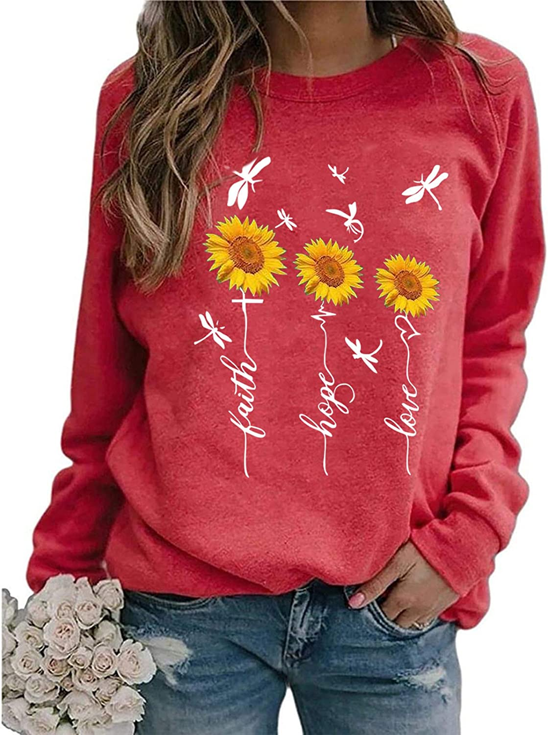 Oiumov Sweatshirts for Women Hoodie Pullover Floral Printed Long Sleeve Tops Pullover Jumper Sweater Shirts Blouse