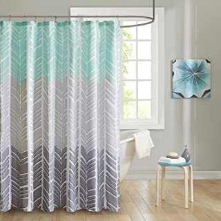 Intelligent Design ID70-791 Adel 100% Microfiber Printed Shower Curtain 72x72 Aqua, 72 x 72,
