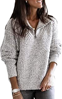 Macondoo Womens Long-Sleeve 1/4 Zip Plus Size Knit Casual Solid Sweater