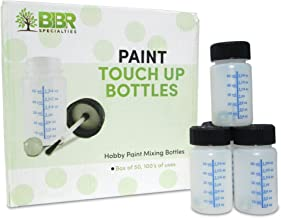 BIBR Specialties Paint Touch Up Bottles With Brush And Mixing Ball - Box Of 50-2 oz/60 ml Capacity - Ideal For Car, Automotive, Model and Hobby Painting - Solvent And Break Resistant HDPE Plastic
