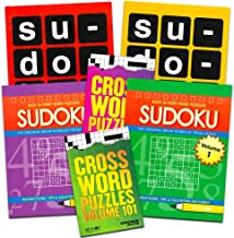 Sudoku Crossword Puzzle Books for Adults Seniors Super Set ~ Bundle of 6 Jumbo Crossword and Sudoku Puzzle Books (Over 550 Puzzles Total)
