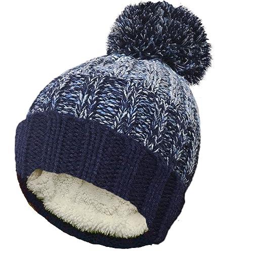 TOSKATOK Unisex Mens Ladies Warm Winter POM POM Striped Beanie HAT with  Cosy Fleece Lining 8d927c0dad0a