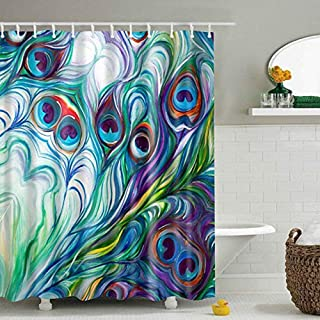 DENGYUE Vibrant Peacock Feather Shower Curtain, Jasper Teal SOID 3D Print Abstract Feather Waves Heart Shape Tail Decorative Fused Colorful Watercolor Beauty of Nature Bathroom Curtain