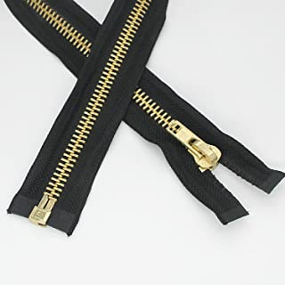 YaHoGa #8 20 Inch Two Way Separating Jacket Zipper Antique Brass Metal Zippers for Jackets Coats Sewing Crafts 20 TW Anti-Brass