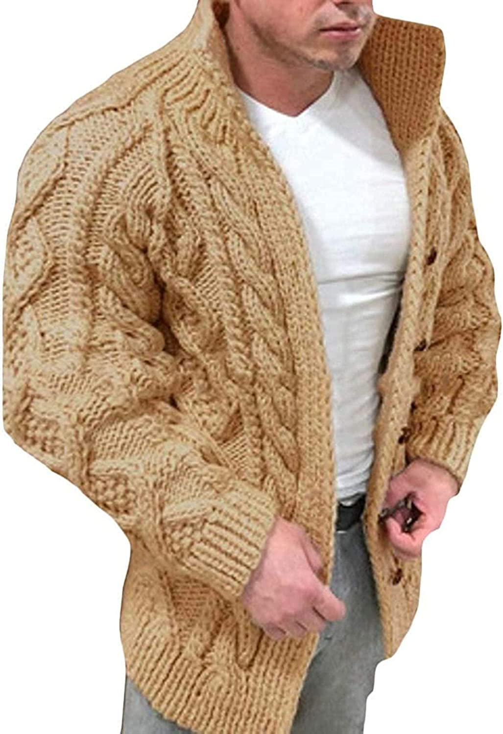 Men Slim Fit Button Up Stand Collar Ribbed Cable Knit Cardigan Sweater
