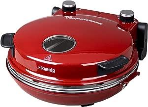 H.Koenig NAPL350 Pizzera Eléctrica, Horno para Pizzas, 1200 W, 32 cm de diámetro, Temperatura Regulable hasta 350 ºC, Piedra Cerámica, Rojo