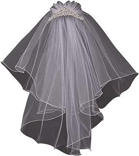 Jewel Comb Veil Tiara Princess Wedding Holy First Communion Flower Girl Veil