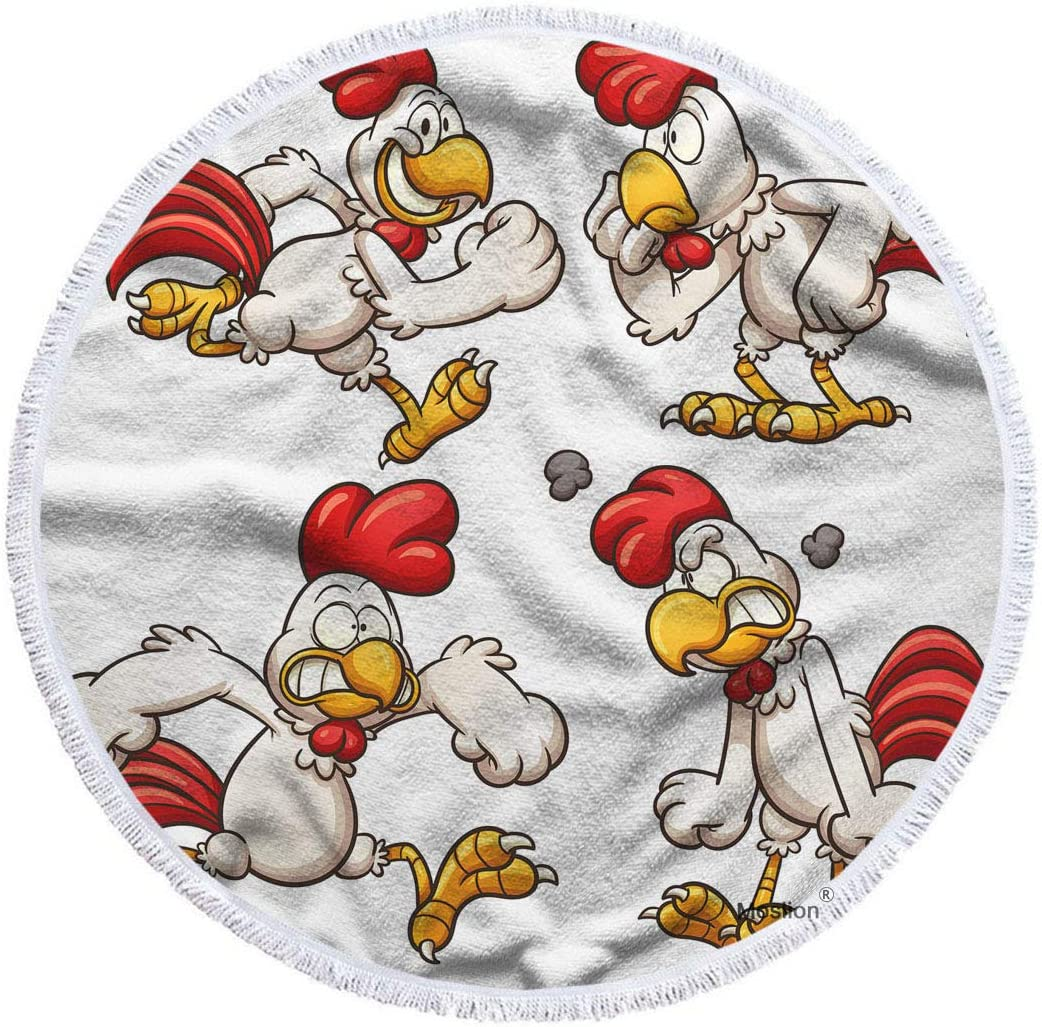 Max 77% OFF Moslion Rooster Beach Towel Blanket Angry C Large special price !! Smile Animal Cartoon