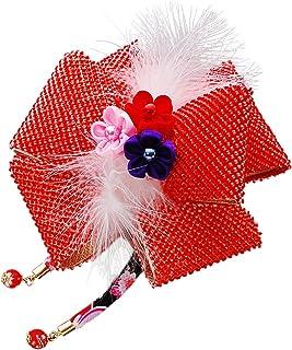 かのこキャリーリボン 髪飾り 291315r レッド 赤 羽 つまみ細工 ちりめん 成人式 七五三 浴衣 卒業式 結婚式 簪 髪かざり ゆかた 浴衣 通販
