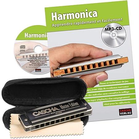 CASCHA Set d'apprentissage avec un harmonica de haute qualité en do majeur diatonique, méthode en français pour débutants, un étui & un chiffon de soin. Idéal pour débutants & adultes