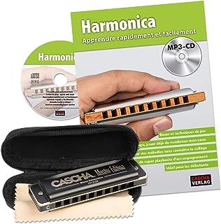 CASCHA Set d'apprentissage avec un harmonica de haute qualité en do majeur diatonique, méthode en français pour débutants,...