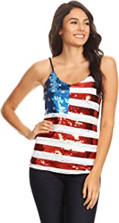 Womens Patriotic USA Flag American Sequin V Neck Cami Tank Top