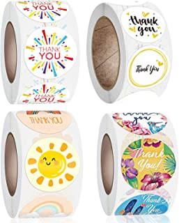 4 Rolls 2000 Pieces Thank You Stickers Labels for Small Business, Packaging, Mailer Seal Stickers, 1 Inch,500 Pieces Per Roll