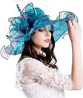 Genuva Women's Organza UV-Anti Church Derby Hat Fascinator Tea Party Wedding Hat Ruffles Wide Brim Bridal Cap