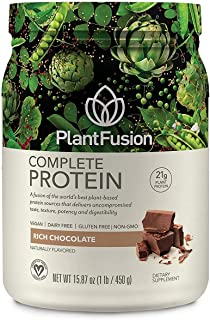 PlantFusion Complete Plant Based Pea Protein Powder, Non-GMO, Vegan, Dairy Free, Gluten Free, Soy Free, Allergy Free w/Dig...