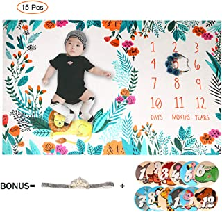 Baby Monthly Milestone Blanket Boys | Includes Floral Wreath & Headband | Photography Props Watch Me Grow Growth Height Tracker Bonus Floral Wreath &Hair Band& 12 Memory Stickers (39