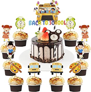 25 PCS Welcome Back to School Theme Cupcake Toppers- First/100th Day of School/Back to School Party Supplies 2021 Cupcake ...