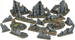 War World Gaming War Torn City Ruined Buildings, Barricades and Rubble Set - 28mm Heroic Scale Wargaming Terrain Model Dio...