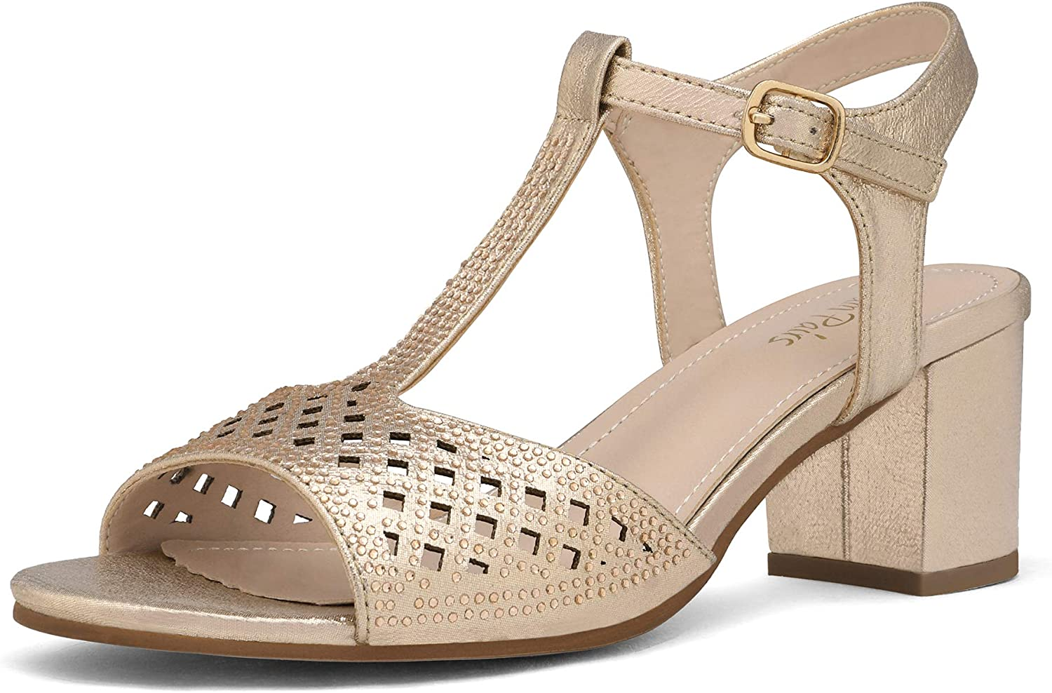 DREAM PAIRS Women's Chunky Low Open Max 66% Popular shop is the lowest price challenge OFF Heels Sparkly Toe Block