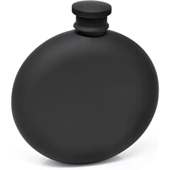 Hip Flask for Liquor Matte Black 5 Oz Stainless Steel Leak-Proof Circular with Funnel in Gift Package for Men & Women.